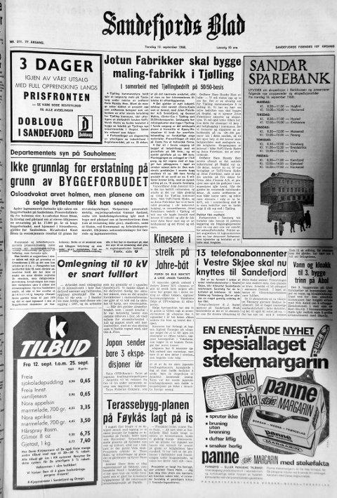 12. september 1968: Førstesiden i Sandefjords Blad for 50 år siden. Kinesere i streik på Jahre-båt.