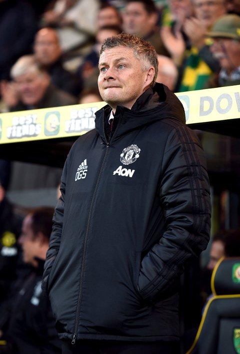 Manchester United-manager Ole Gunnar Solskjær mot Norwich søndag. (Joe Giddens/PA via AP)