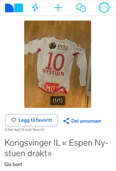 GIS BORT: KIL-trøya til Nystuen ble lagt ut på Finn for den nette sum av 0 kroner.