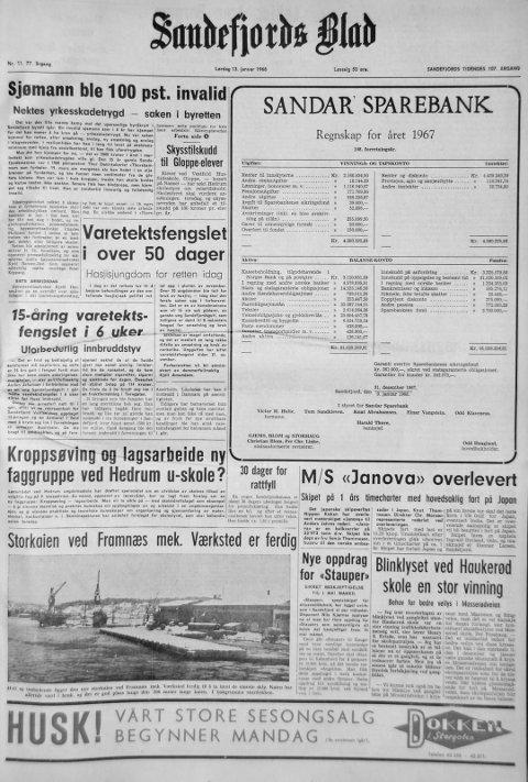 13. januar 1968: Førstesiden i Sandefjords Blad for 50 år siden. Storkaien ved Framnæs mek. Værksted er ferdig