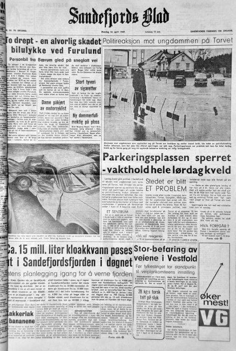14.. april  1969: Førstesiden i Sandefjords Blad for 50 år siden. To drept - en alvorlig skadet i bilulykke ved Furulund.
