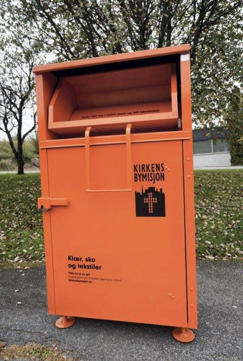 Søknad: Kirkens Bymisjon ønsker å sette ut fire slike innsamlingsbokser i Tvedestrand.