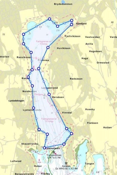 SANDEFJORDSFJORDEN: Verneområdet er på 1.600 dekar, og er gjeldende innenfor Tranga i Sandefjordsfjorden. Foto: Sandefjord kommune