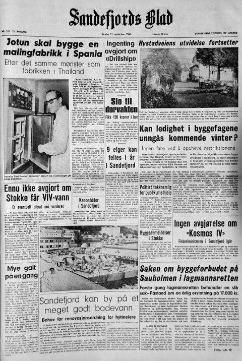 11. september 1968: Førstesiden i Sandefjords Blad for 50 år siden. Jotun skal bygge fabrikk i Spania.