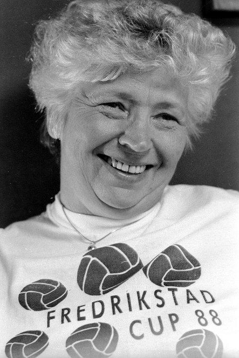 Elisabeth Sveberg var i mange år en frontfigur for Fredrikstad Cup- Her fra 1988.