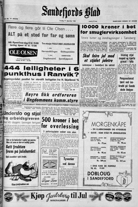 17. desember 1968: Førstesiden i Sandefjords Blad for 50 år siden. 10 000 kroner i bot for smuglervirksomhet.