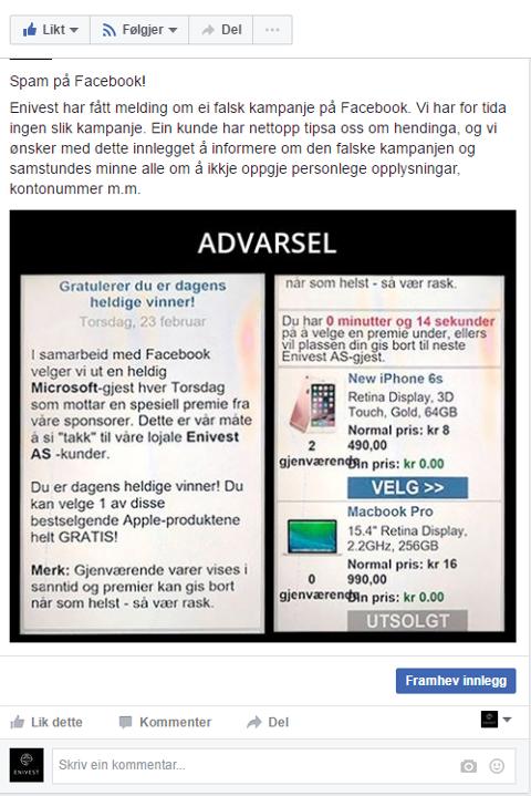 FALSK: Denne Enivest-kampanjen er svindel, seier Christiane Ulriksen, marknadsansvarleg i Enivest.