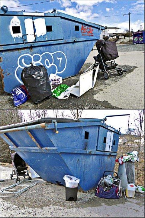 SKROT: Ved Rustadveien på Raufoss ligger dessverre mestepaten av søplet ved containeren, og ikke ikke oppi selve containeren.