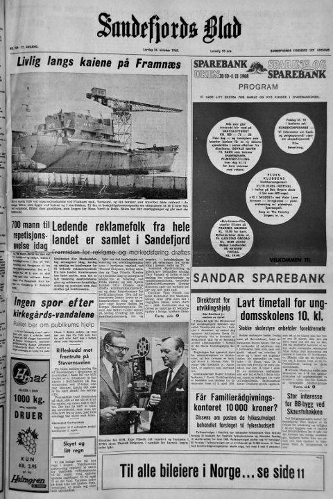 26.oktober  1968: Førstesiden i Sandefjords Blad for 50 år siden. Rifleskudd mot frontrute på Stavernsveien.