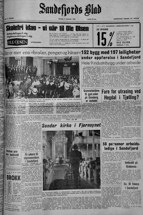 """4.november 1968: Førstesiden i Sandefjords Blad for 50 år siden. Her er mer enn """"hvalær, pengær og båtær"""""""