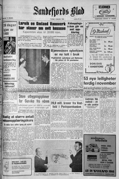 5.desember 1968: Førstesiden i Sandefjords Blad for 50 år siden. Kidnappingsaken går mot oppklaring.