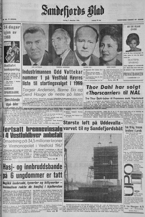 7.desember 1968: Førstesiden i Sandefjords Blad for 50 år siden. Hasj- og innbruddsbande på 6 ungdommer tatt.