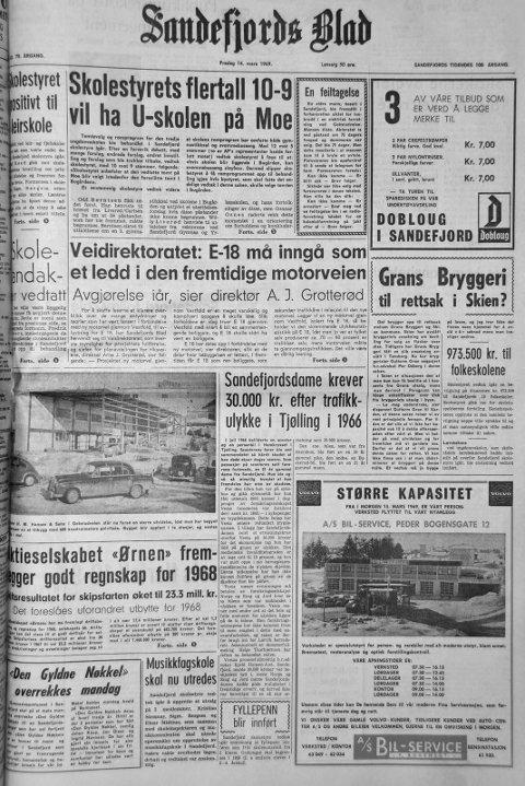 14. mars 1969: Førstesiden i Sandefjords Blad for 50 år siden. Musikkskole skal nu utredes.