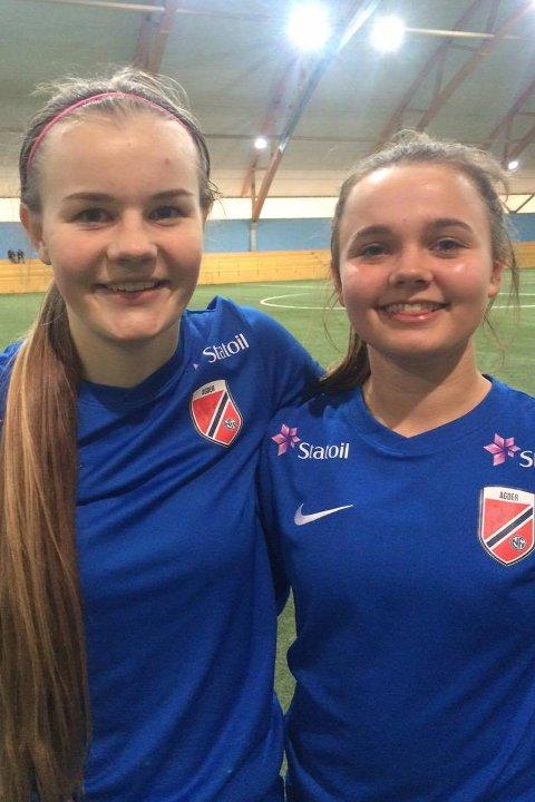 TALENTFULLE JENTER: Sofie Haugland Ausland (t.v.) og Zavier Stewart, her etter søndagens seier i Telemarkshallen.