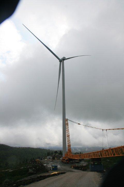 VINGER MONTERT: Ved hjelp av gigantiske løftekraner har vindmøllene fått påmontert vinger.