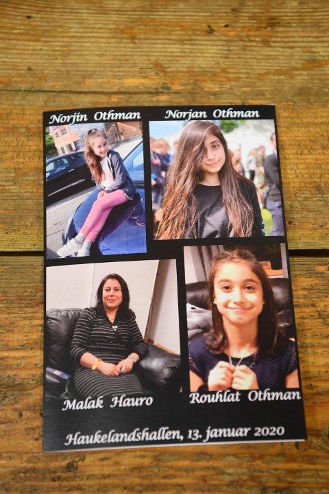 Bilder av de tre unge søstrene og deres mor fra seremonien i Haukelandshallen.