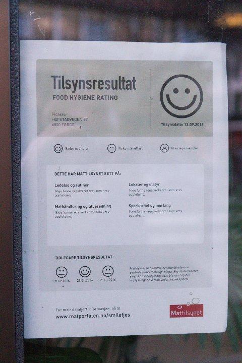 TILSYNSPLAKATEN: Slik ser tilsynsplakaten frå Mattilsynet ut. Denne er frå Picasso restaurant, men alle plakatane Firda fann i Førde hadde same språklige innhald.