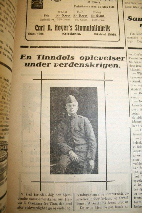 AUSTBYGDE: Halvor K. Orekaasa født og oppvokst i Tinn Austbygd kjemper 13 måneder med et maskingevær i  Argonne, det nordøstlige hjørnet av Frankrike. Bilde fra Rjukan Dagblads artikkel 1923.