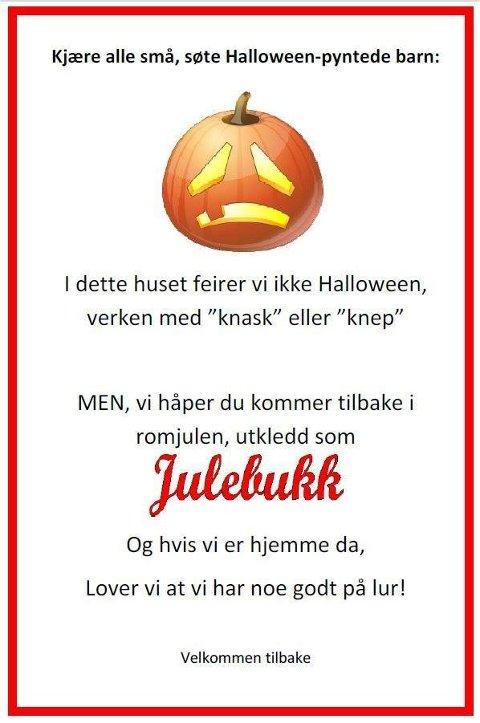 """Plakat fra Facebook-siden Ut med """"Knask eller knep"""", inn med julebukk."""