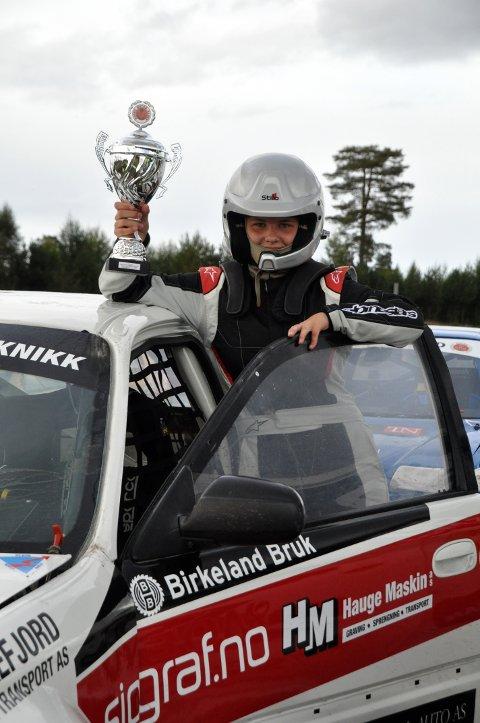 NORRGESCUP: Andrine Rafoss etter det første løpet i Norgescup Rallycross junior i 2020.
