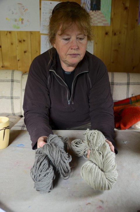 GARNNØSTE: Garnøsta er frå eige ull og ulla er farga med forskjellige planter.