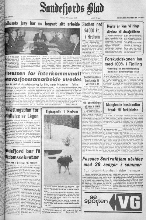10. februar  1969: Førstesiden i Sandefjords Blad for 50 år siden. Neste år kan vi ringe direkte til drosjebilene.