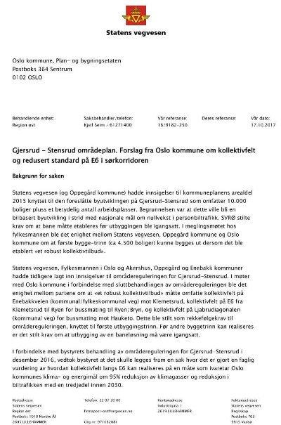 NEKTER Å ETTERKOMME ØNSKER: I dette brevet fra høsten 2017 redgjør Statens vegvesen i detalj om hvorfor de nekter å etterkomme Oslo kommunes ønsker. Siden har lite skjedd.