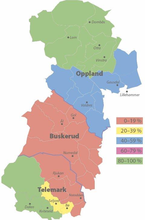 Dialekt: Dette kartet syner dialektbruken mellom elevane ved dei 15 vidaregåande skulane i midlandsmål-området. Tala byggjer på rapporterte tal frå leiingane ved kva av skulane. Fargekodane er i prosent, og syner at det er mest dialektbruk i Nord-Gudbrandsdalen og Vest-Telemark – og minst i Buskerud og Aust-Telemark.