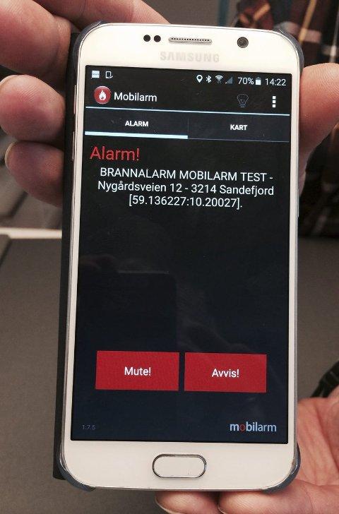 Tekstmelding:  Slik blir brukeren kjent med at alarmen har gått.