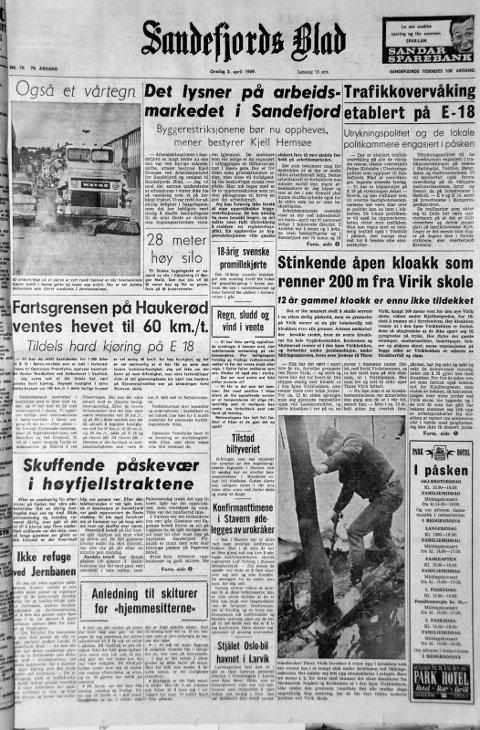 2. april  1969: Førstesiden i Sandefjords Blad for 50 år siden. Stinkende åpen kloakk som renner 200 m fra Virik skole.
