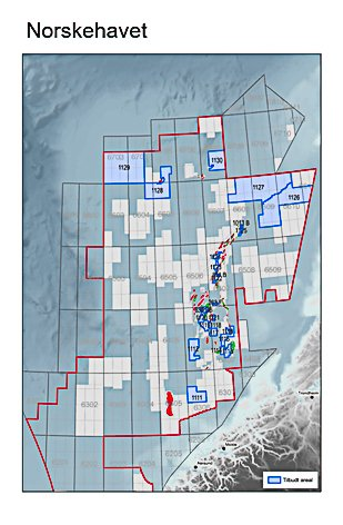 Olje- og energidepertementets tildeling av 61 nye lisener i januar 2021. 24 av disse i Norskehavet. De lyseblå områdene øverst på kartet ligger rundt verneområdet Nordfland VI.  Disse tildelingene kaller Fredric Hauge i Bellona - en omringing.