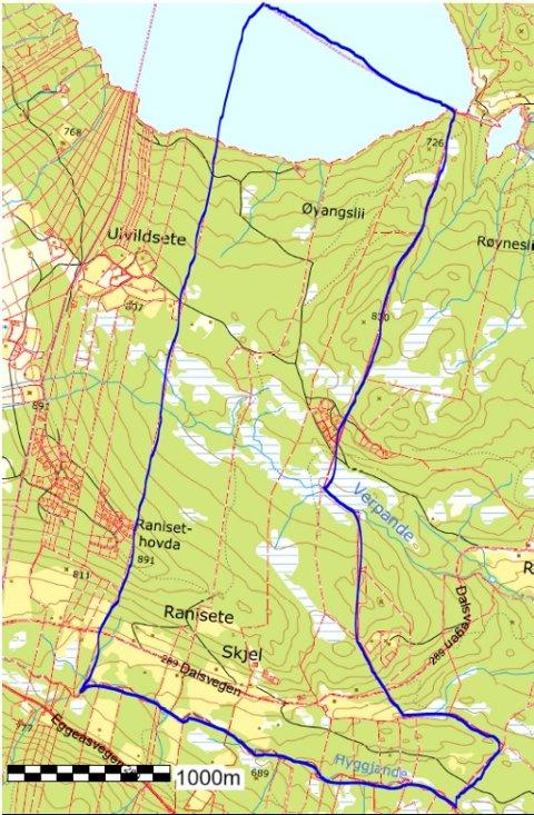 Inneklemt: Skjelgrenda ligg geografisk i Øystre Slidre-dalføret, men vart lagt til Vestre Slidre kommune då Slidre kommune vart delt i 1849. Kart: Øystre Slidre kommune