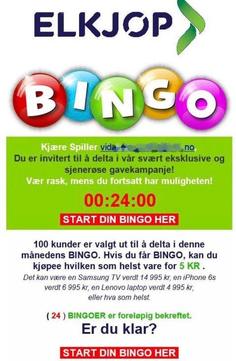 """BINGO: Elkjøp-Bingo er blant de nyeste variantene i den nye bølgen med epostsvindel. Merk at eneste betydelige skrivefeil er """"kjøpee"""".  FOTO: Skjermdump /"""
