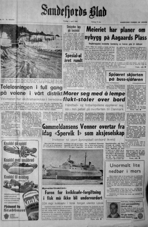 """1. april  1969: Førstesiden i Sandefjords Blad for 50 år siden. Gammeldansens venner overtar fra i dag """"Spervik 1"""""""