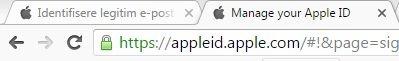 """Slik ser adressefeltet ut til den ekte Apple-sida. Med """"apple.com"""" i teksten og deler av den merka i grønn, som tyder at den er trygg."""
