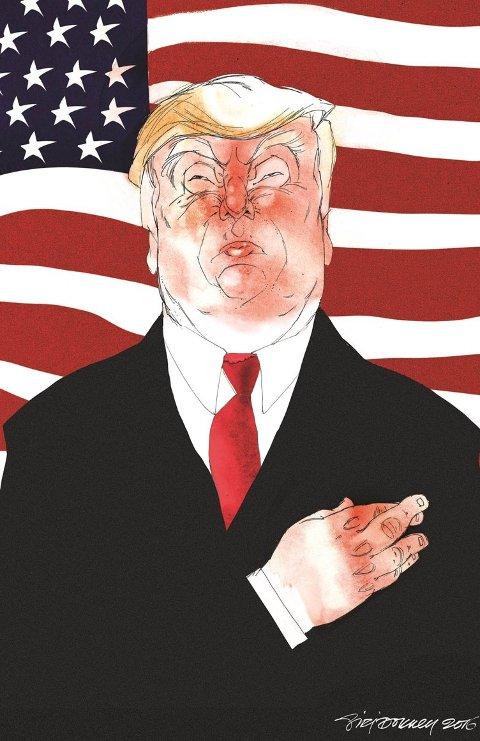 Utradisjonell: Donald Trump kaller mediene den egentlige opposisjonen i USA. Tegning: Siri Dokken