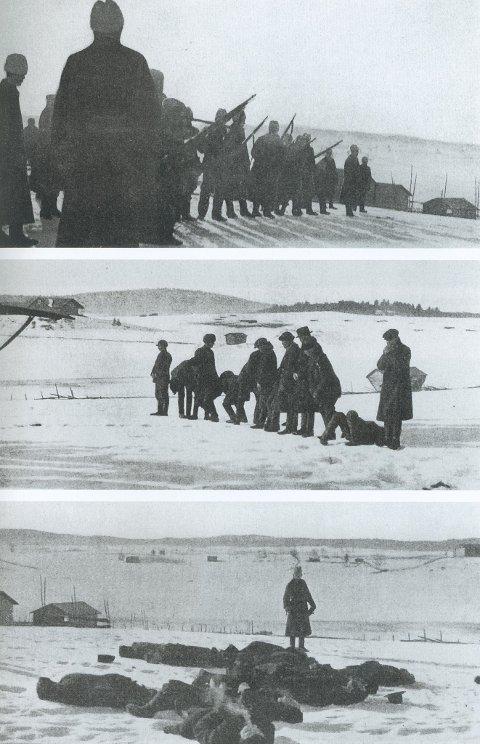 Det øverste bildet viser hvite soldater oppstilt og klare for å henrette 13 rødegardister i Länkipohja soldater om morgenen den 17.mars 1917. På det midterste bildet ser vi at den første geværsalven har truffet noen, mens andre er i ferd med å segne om.  Unggutten med skyggelue helt til venstre er ennå ikke truffet. Det tredje  bildet viser en hvit offiser med en pistol i hånden. Han går mellom de døde og døende for å gi nådeskuddet. Under bildene fra denne massehenrettelsen har fotografen Harald Natvig skrevet: Rov, mord, opprør og landsforræderi får sin straff.» Han unnlater å fortelle at henrettelsen var en hevn for de hvite som var blitt drept krigsdagen før.