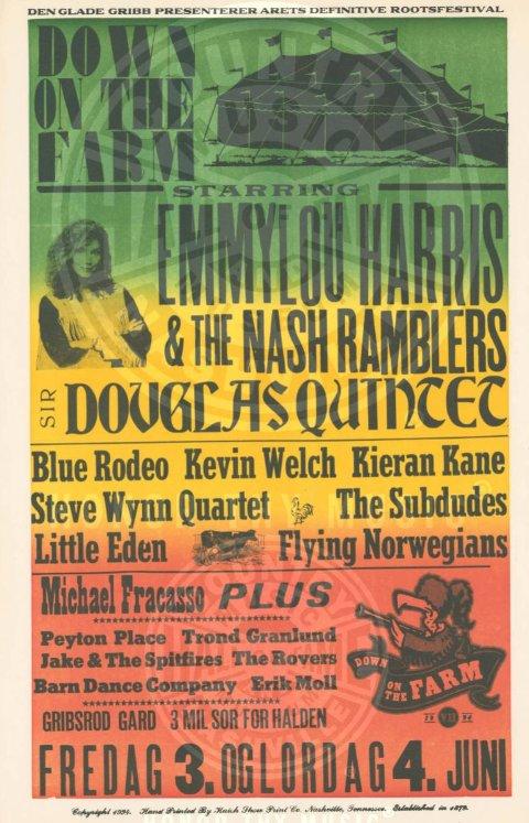 TIL MUSEUM: Plakaten til Down on the Farm 1994 skal nå innlemmes  i countrymuseum.