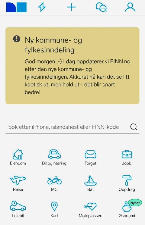SAMMENSLÅINGER: Nye kommuner og fylker byr på utfordringer for mange. I dag oppdaterer finn.no sin søkemotor.