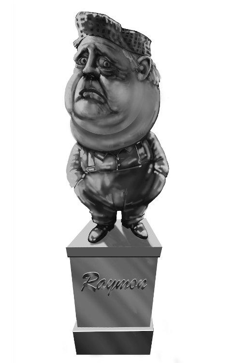 «Byen blir ikke kvitt Raymon-stempelet ved at vi gjør oss fisefine over natta. Det beste er å erkjenne tingenes tilstand og reise en velfortjent statue over han som hjalp oss til selvinnsikt.» Illustrasjon: John Andersen