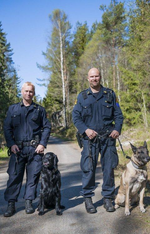 Tilskuere: Dersom du er interessert i hund inviterer Magne Gundersen med hunden Leo og Rune Grimstad med hunden Solan deg til å overvære nordisk mesterskap for politihunder.