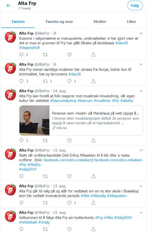 FALSK: Twitterkontoen hevder å være styrt av Alta Frps styreleder og styret, noe Odd Erling Mikalsen avviser.