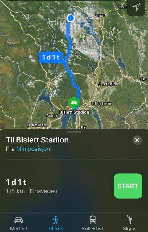 Ruta: De 118 kilometerne fra Gjøvik til Bislett i Oslo skal ifølge GPS-en ta over et døgn, men Aleksander Tangen har mål om å klare det på under 15 timer.