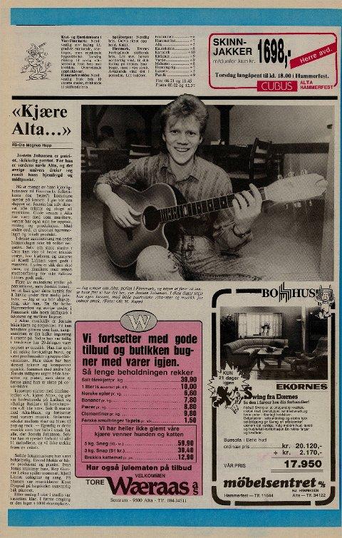 1987: Låten «Å kjære Alta» var Josteins største hit og kom i 1987.