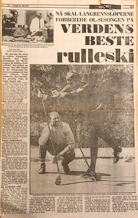 Oddmund Jensens rulleski som ble videreutviklet fra skia til Odd Gundersen, ble viktig for norsk langrenn. (Faksimile av VGs oppslag 22. mai 1971)