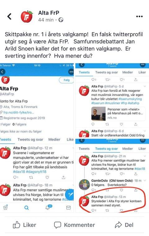 «SKITTPAKKE»: Alta Frp har lagt ut flere skjermdumper fra Twitter-kontoen på egen Facebook-side og kaller den falske kontoen for en skittpakke.