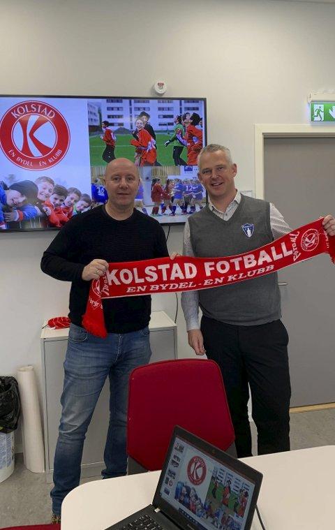Daglig leder i Rana FK, Sigurd Hognestad (t.h.), besøkte forleden Kolstad Fotball i Trondheim, der daglig leder Jan Morten Bjerkan informerte om klubbens integreringsprosjekt.