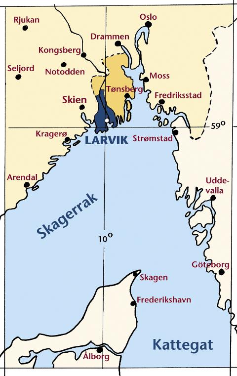 BELIGGENHET. Kartet viser LARVIKs beliggenhet i det geografiske koordinatsystemet (krysningspunktet mellom 10. breddegrad og 59. lengdegrad) og i forhold til en del andre nærliggende norske, svenske og danske byer.