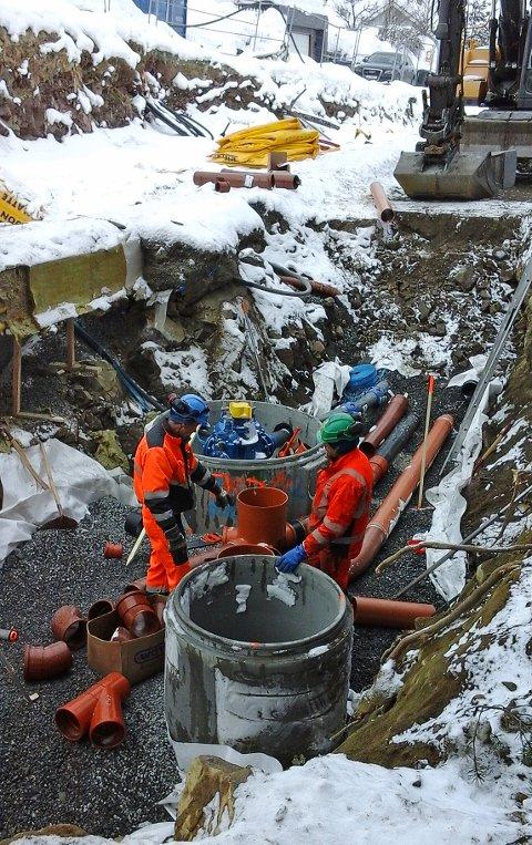 Det gjenstår fortsatt omfattende anleggsarbeider i det store samarbeidsprosjektet som startet i Hans Mustads gate i fjor høst.