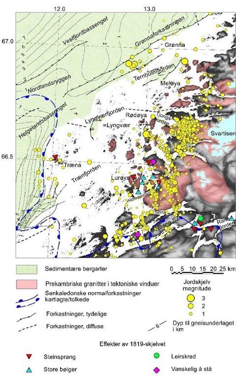 Jordskjelv på Helgelandskysten i periodene 1997-1998 og 2013-2017 (fra forskningsprosjektene NEONOR1 og NEONOR2). En sverm med ca. 500 skjelv ble registrert i 2015 rundt Blokktinden vest for Svartisen. Til sammen 30-40 ble utløst i disse to periodene langs de østlige begrensningene av Vestfjordbassenget (Grønnaforkastningen) og Helgelandsbassenget og antyder at forkastninger i disse områdene er aktive. Observerte effekter av jordskjelvet i Lurøy-Ranafjordområdet i 1819 er også vist (fra Bungum & Selnes 1988). Den gule stjernen viser omtrentlig plasseringen av dette skjelvet.